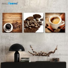 3 Panel canvas painting coffee decoration painting kitchen restaurant decorations art black coffee pattern modern style printing(China)