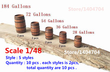 NIDALE model Scale 1/48 Classical ancient ship model decorations kits wooden brandy casks / Barrel / buckets 5 styles 10 pcs/lot