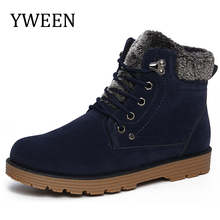 YWEEN Hot Plush Snow Cotton men'shoes Autumn Winter Lace-up Style Brand Fashion Trend Flock Short men's Ankle Martin Boots(China)