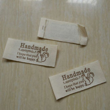 100 pcs/lot Cotton beige cloth woven label Garment soft prints handmade logo 50 mm * 20 mm