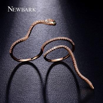 NEWBARK Mystère Serpent Anneau Bagues Pour Femmes Avec Vert Yeux Minuscule CZ Diamant Bague Ronde Parti Bijoux Anel Feminino