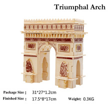 3D Wooden Puzzles Triumphal Arch Architecture Model Assembly Jigsaws DIY Educational Toys Gift For Kids Free Shipping(China)