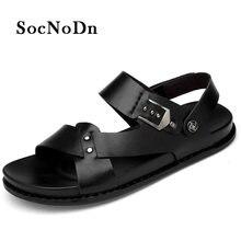 f4e29c067769 SocNoDn Men Casual Sandals Genuine Leather 2018 Summer Sandals Man  Breathable Retro Casual Walking Footwear Soft