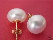 perfect AAA+++ 10-11mm natural south sea white pearl earrings(China)
