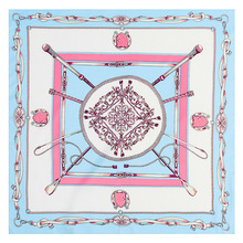 60*60 Women's Silk Scarf Hijab French Fashion Bandana Ladies Scarves Handkerchief Twill-silk Shield Chain Print Headband Muffler