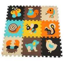 9Pcs Colorful animal Pattern Foam Puzzle Kids Rug Carpet Split Joint EVA Play Mat Indoor Soft activity Puzzle Mats For Children(China)