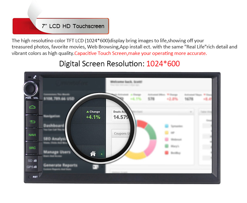 7 Inch Android 5.1 Quad Core 1024*600 Car Multimedia Player For Universal Radio System Free 8GB Card MAP Without DVD