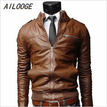 AILOOGE Leather Jacket New Arrival PU Men Long Standing Collar Solid Color Jackets Overcoat Men Leather Jackets Male Clothing