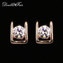 Buy Double Fair Simple OL Style AAA+Cubic Zirconia Stud Earring Silver/Rose Gold Color Fashion Wedding Jewelry Women Gift DFE216 for $2.36 in AliExpress store
