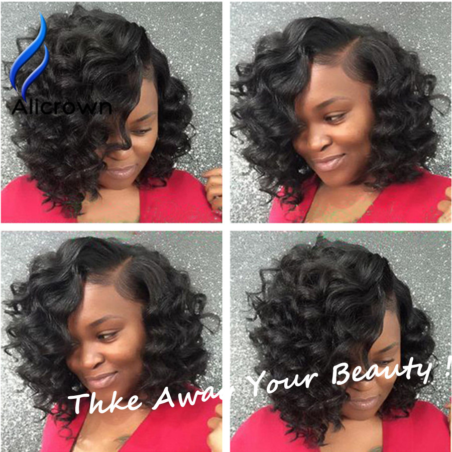 Brazilian Virgin Hair Short Curly Lace Front Wigs Alicrown Hair Curly Lace Wig Short Full Lace Human Hair Wigs With Baby Hair<br><br>Aliexpress