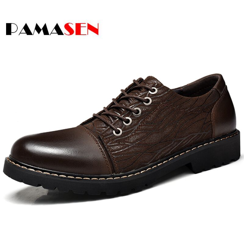 PAMASEN High Quality Men Flats Casual New Genuine Leather Flat Shoes Men Oxford Fashion Lace Up Dress Shoes Work Shoe Sapatos<br>