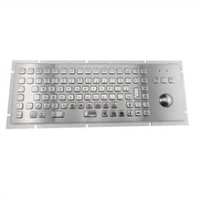 IP65 vandal proof stainless industrial Metal PC keyboard with 89 keys and 38mm trackball for rear/back panel mountiong solution