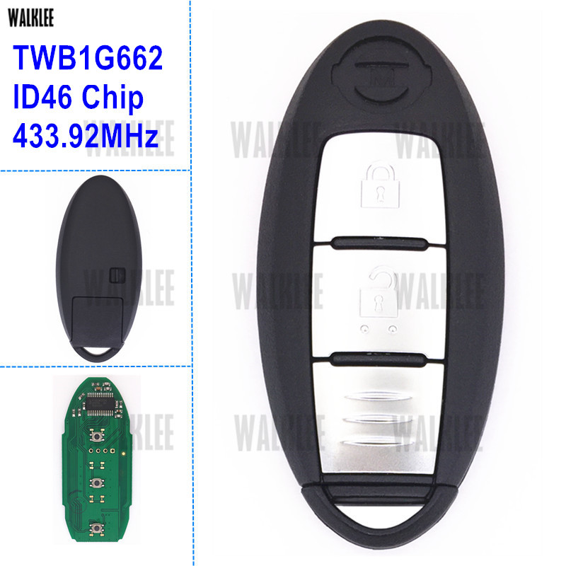 WALKLEE Smart Remote Key suit for Nissan Micra K13 / Juke F15 / Note E12 / Leaf / 433.92MHz / ID46 Chip TWB1G662(China)