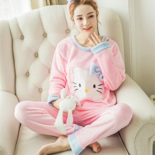 Ladies Hello Kitty Cat Velvet Fabric Korean Pajamas Sets Female Pink Blue Thick Flannel Long Sleeve Pyjama Sleepwear Sleepsuit