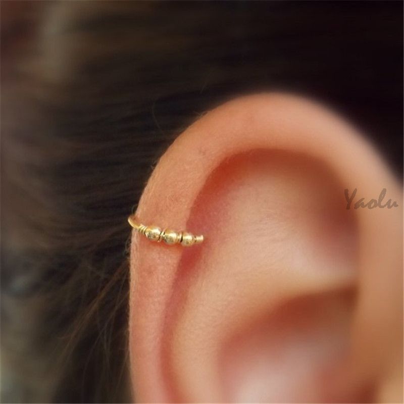 2020 Gold Tone Beaded Cartilage Earring Helix Hoop Cartilage