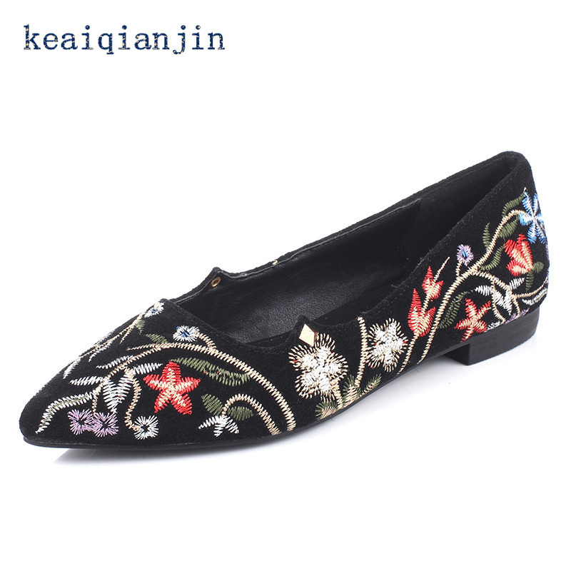 KEAIQIANJIN Embroider Flats 2017 Spring Fashion Shallow Genuine Leather Shoes Black Big Size 34 - 43 Woman Embroider Flats<br><br>Aliexpress