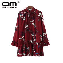 OMCHION Vestidos New Summer Dress 2017 Casual Floral Printed Women Dresses Ruffles Long Sleeve Turn-down Collar Dress BX50(China)