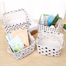 Simplicity White&Black Linen Desk Storage Basket Holder Jewelry Stationery Office Organizer Case Organizer For Cosmetics #226257(China)