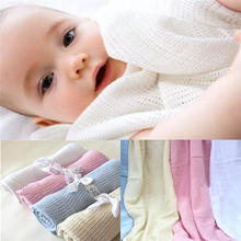 Newborn Baby Blanket Infant Crochet Blankets Swaddle Muslin Wrap Soft Cotton Knitted Stretch Cloth Summer Crib Sleeping Bedding(China)