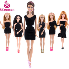 New Clothes A Lot = 5 Pieces Fashion Lady Black Handmade Cool Dresses Outfit for Barbie Doll DIY Accessories(China)