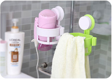 On sale Bathroom Accessory Round Rack Wall Mount Vacuum Suction Cup Hair Dryer Holder Hang Stand Flat Home Organizer