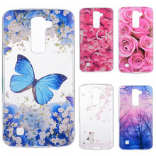 Phone Cases sFor LG K8 Lte K350 K350E K350N Flowers Rose Plants Butterfly Pattern Clear Soft TPU Back Cover for LG K 8 5.0""