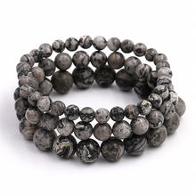 Men's Power Energy Jewelry 6/8/10mm High Quality Grey Veined Picture Stone Beads Bracelets Lucky Bracelets For Men(China)