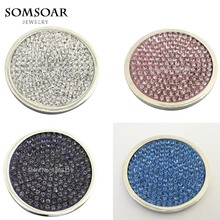 Somsoar Jewelry Full Crystal Elements Coin Pacific 33mm Large for My Coin Holder Frame Pendant 10pcs/lot(China)