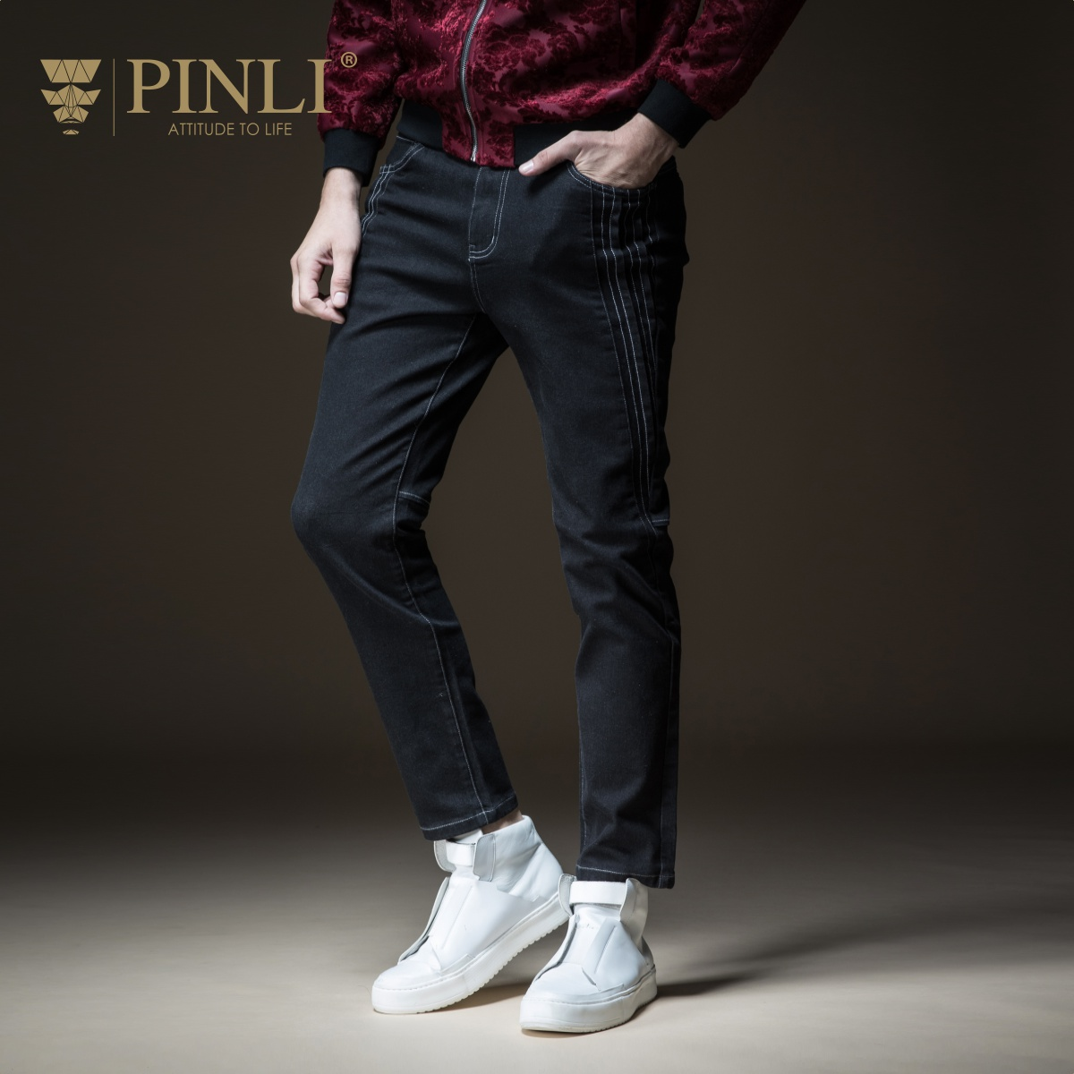 Skinny Jeans Men Real Full Length Slim Pinli Pin Li 2018 New Autumn Men's Suit, Body Wash, Foot Leisure Cowboy Pants B183216331