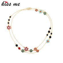 Summer Charming Multicolor Enamel Flowers Long Necklace Women Bijoux Jewelry Factory Wholesale
