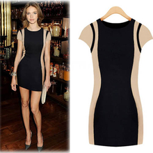 2015 New Fashion Women Casual Dress Summer Party Mini vestidos Sexy Evening Club Wear Clothing Patchwork Bodycon Dress Female