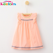 Keelorn Girls Dress 2017 Summer Style Girl Clothes Petal Sleeve Children Clothing Embroidery Design Girl Dresses Kids 3-7Y