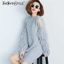 [TWOTWINSTYLE] 2017 Autumn Winter Fur Spliced Long Sleeves Knitted Sweaters Dress Women New Fashion Clothing Pullovers Gray(China)