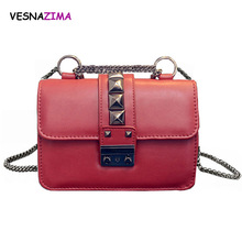Fashion Women Crossbody Bag Rivet Promotional Ladies Tote Luxury PU Leather Handbag Chain Shoulder Bag Grey WM405Z bolsos mujer