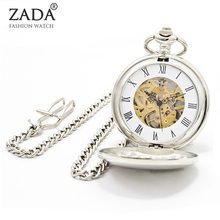 Fashion Silver Steel Steampunk Mechanical Pocket Watch Men Women Necklace Clock Gifts Vintage Skeleton Pocket Watch