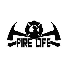 Fire Life Fireman Firefighter Home Window Glass Car Sticker Laptop Auto Truck Wall Door Black Vinyl Decal Decor 17.9cmX9.1cm