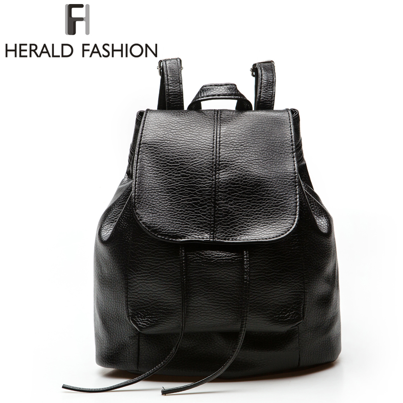 Herald Fashion Women Backpack PU Leather Black School Bags For Teenagers Girls Female Casual Travel Bags Pack Mochilas Feminina<br><br>Aliexpress