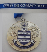 High quality and low price FOOTBALL MEDALS CRESTED  IN THE COMMUNITY TRUST cheap custom silver sports medals and ribbons