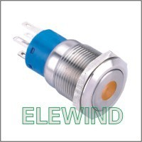 ELEWIND 19mm Orange Dot illuminated Latching push button(PM192F-22ZD/O/12V/S)