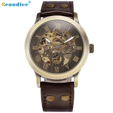 New Durable Fashion Watch Men Steampunk Bronze Skeleton Self-Winding Auto Mechanical PU Leather Wrist Watches Creative Mar22