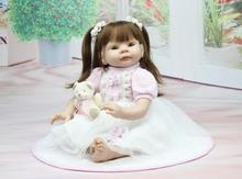 22-inch Simulation reborn doll cute little girl princess Imported soft silicone US Floral Skirt wheat-colored upscale gift