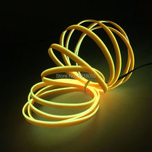 LED Strip Glowing EL Wire Tube Rope Flexible Neon Light 2.3mm-skirt 3Meters Yellow Car Inside Decoration