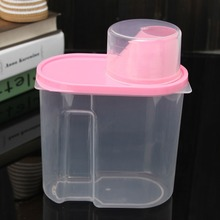 New Pink 1.9L Plastic Kitchen Food Storage Boxes Cereal Grain Bean Rice Container Box Case Hot Selling