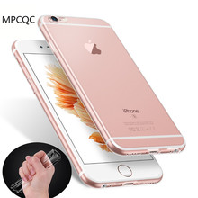 MPCQC Original Ultra Thin HD 0.6mm Clear TPU Case For Iphone 6s 6 plus Slim Dust plug Back Protect Skin Rubber Phone Bag Cover