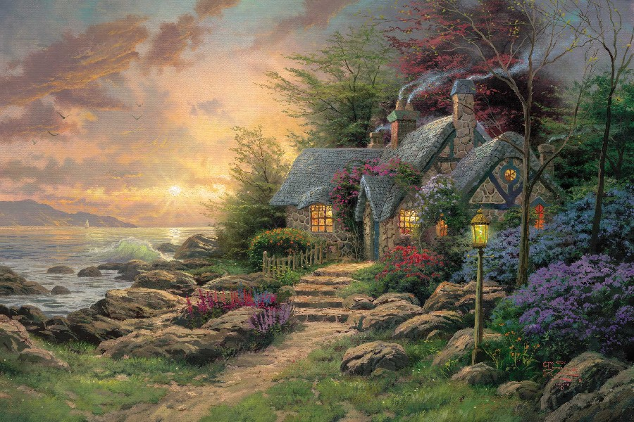 Seaside Hideaway by Thomas Kinkade oil painting poster fabric cloth silk wall poster print(China (Mainland))