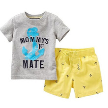 Mommy's 1st Mate children's clothing sets for boys Children Sports Set Boys Holiday summer Suit Boy's Beach set t-shirt shorts