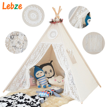 Four Poles Children Teepees Lace Cream Tent For Girls Kids Play Tent Cotton & Lace Tipi For 0-12 Baby Ins Hot(China)