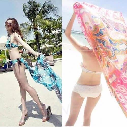 Women Beach Dress Sexy Swimsuit Beach Wear Dress Sarong Bikini Chiffon Cover-ups Wrap Pareo Skirts Towel Open-Back Swimwear 3