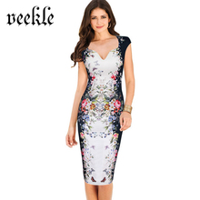 VEEKLE Summer Women Casual Sheath Pencil Dress Rose Floral Print Flower Pattern Bodycon Slim Sexy V-Neck Tank White Blue Pink(China)