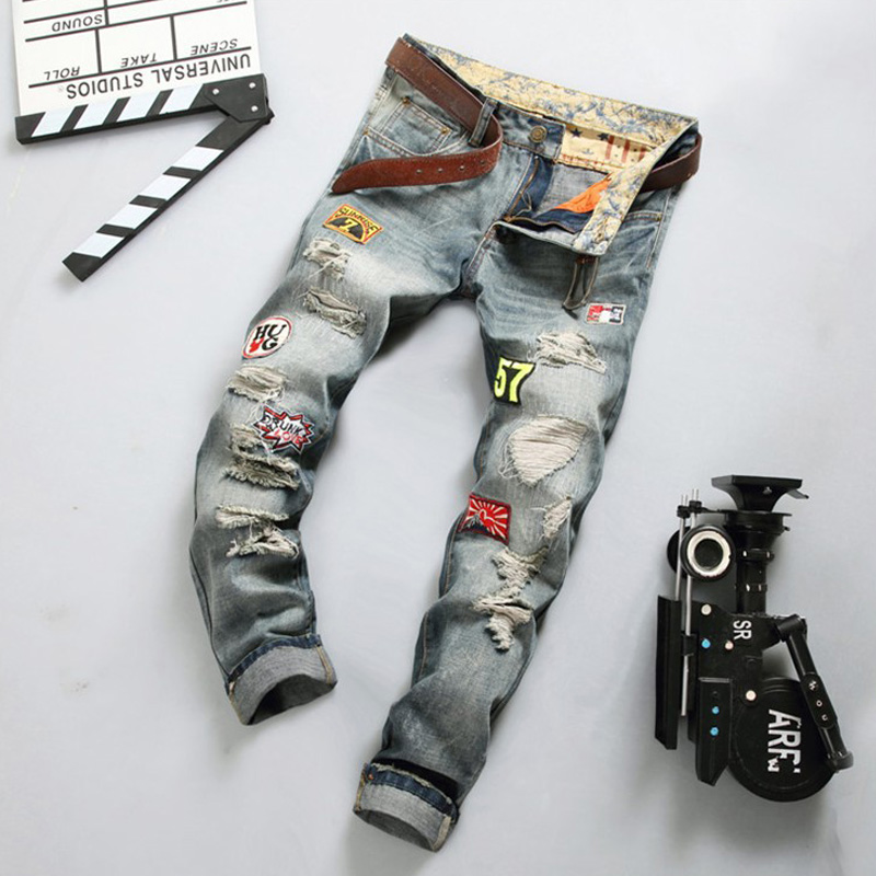 EU Style High Quality Brand Jeans Ripped Trousers Slim Straight Patchwork Biker Jeans Men Blue Print Men`s Jeans 29-38 YY777Одежда и ак�е��уары<br><br><br>Aliexpress
